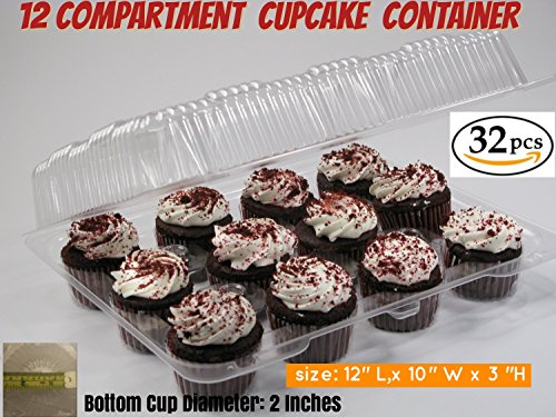 Cupcake and Muffin Containers with Superior Hinged Lid, Clear 12-Compartment, Strong and Sturdy, BPA Free, crystal Clear Plastic,( pack of 32)