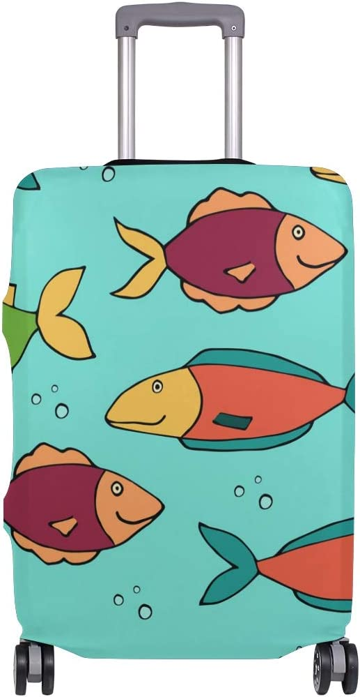 FOLPPLY Fish Pattern Luggage Cover Baggage Suitcase Travel Protector Fit for 18-32 Inch