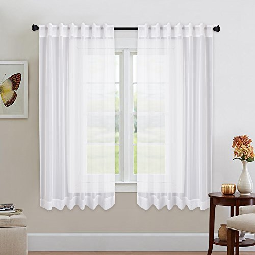 (NICETOWN Kitchen Window White Sheer Curtains - High Thread Sheer Voile Draperies/Drapes with Rod Pocket & Back Tab for Bedroom (2 Pieces, 54 inch Wide x 63 inch Long) )
