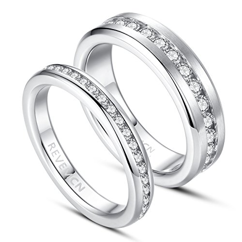 REVEMCN 3MM 6MM Stainless Steel Eternity Couple Wedding Band Ring for Men Women with Cubic Zirconia CZ (3mm, 9) by REVEMCN