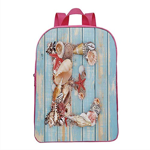 Letter E Fashionable Backpack,Stylized E Font Different Lively Seashells Exotic Underwater Life Decorative for School Travel,One_Size -