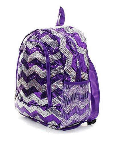 Sequin Chevron Stripe Large Backpack Handbag (PURPLE)