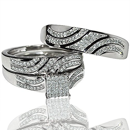 His and Her Rings Trio Wedding Set White - White Gold Trio Wedding Sets