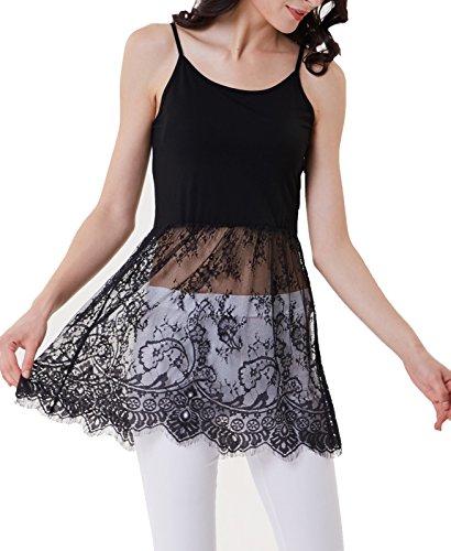 Tiered Trim - Kate Kasin Women's Layered Dress Tiered Lace Trim Half Slips(L,Black 903)