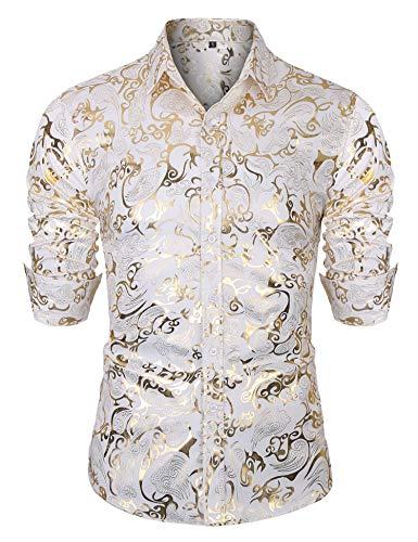 Golden Long Sleeve - URRU Mens Geek Design Metallic Copper Golden Slim Fit Long Sleeve Button Down Dress Shirts Tops White L