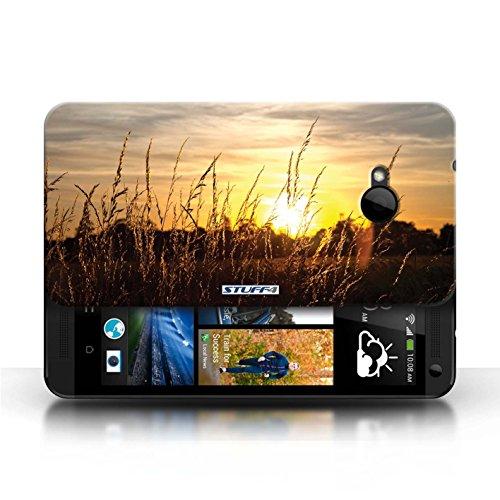 Etui pour HTC One/1 M7 / Champs d'orge conception / Collection de Coucher du Soleil