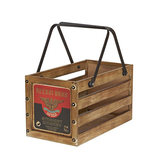 Household Essentials Whiskey Design Decorative Wood Crate for Storage, Small, Brown (Wood Crate Shelf compare prices)