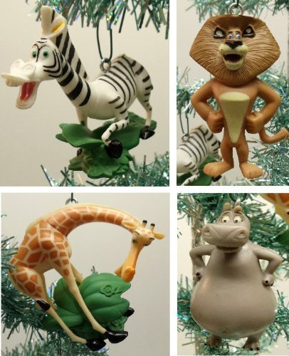 Madagascar 4 Piece Holiday Christmas Tree Ornament Set Featuring Gloria the Hippo, Alex the Lion, Marty the Zebra, and Melman the Hypochondriac Giraffe - Shatterproof Design Ranging from 3