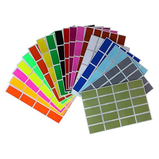 Rectangular Color Coding Stickers 1.57inch x 0.75 inch Rectangle Label in 18 Assorted Colored Name Tags Labels for Kids(40mm x 19) 360 Pack by Royal Green