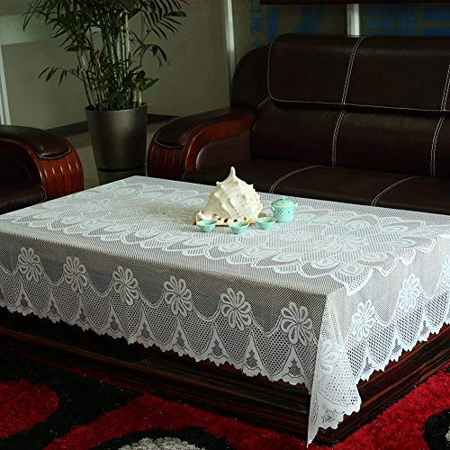 (Tablecloth White, Lace Tablecloths, Crochet Tablecloth,Rectangle knitted By Meleg Otthon (59 inchesx98.5 inches, beige) )