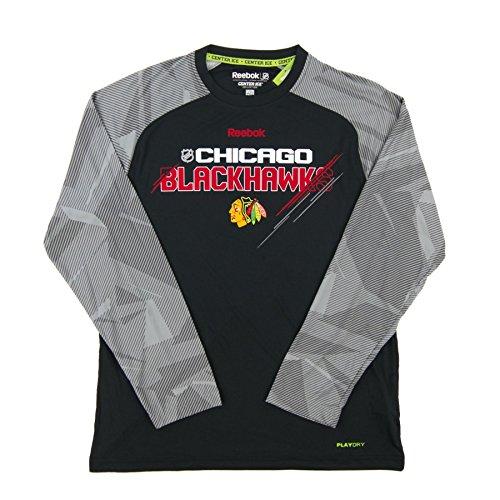 Chicago Blackhawks Reebok Center Ice Slash Long Sleeve Performance Tee (Medium) (Mens Tee Reebok Coaches)