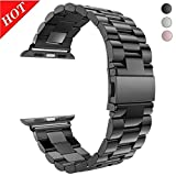 For Apple Watch Band Black 42MM Stainless Steel Strap Wristband for Replacement iWatch Strap with Comfortable Durable Folding Metal Clasp Classic Buckle Wrist Watch Strap