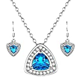 """Forever Young"" Ocean-blue Sparkling Zircon Pendant, Matched Necklace & Earrings Jewelry Set, Healing of Love"