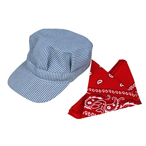 Classic Train Engineer Conductor's Adjustable Cap and Bandana Set Youth Size Blue
