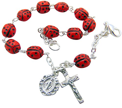 Westman Works Ladybug Rosary Bracelet Our Lady's Bug Catholic Ladies Jewelry Adjustable