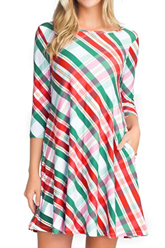 ICONOFLASH Christmas Dresses with Pockets for Women 3/4 Sleeves Swing Holiday Party Dress Up Color Argyle Plaid, Size - Dress Plaid Holiday