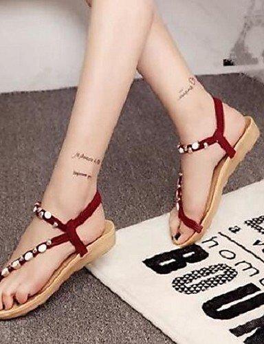 ShangYi Sandaletten für Damen Damenschuhe - Sandalen - Kleid - Kunstleder - Flacher Absatz - Komfort - Schwarz / Beige / Burgund Burgundy