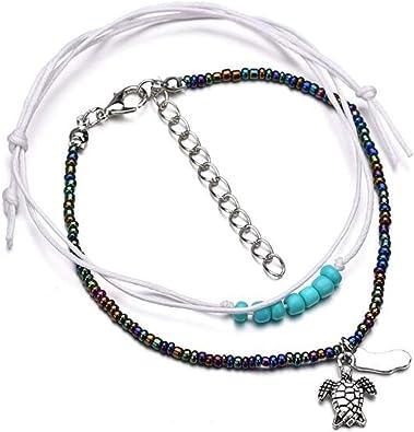Women Blue Turquoise Beads Sea Turtle Anklet Beach Sandal Ankle Bracelet AD
