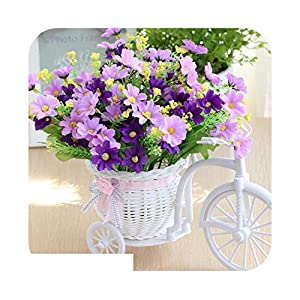 Artificial Fowers Artificial Flower Set Rattan Bicycle Basket Flower Bouquets for Wedding Car Outdoor Indoor Household Table Decor 38