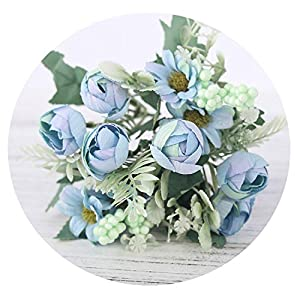 HuaHua-Store Rose Artificial Silk Flowers Bouquet Fake Flowers Daisy Bud Decoration for Wedding Home Foam Accessories,Blue 23