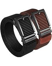 JUKMO Cinturón de trinquete para hombre, paquete de 2 cinturones tácticos de nailon con hebilla deslizante automática