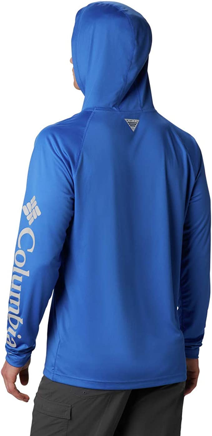 Columbia Men's Terminal Tackle Hoodie, Vivid Blue, Cool Grey Logo, Medium best men's fishing shirt