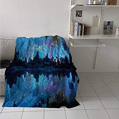 maisi Natural Cave Throw Blanket Illuminated Reed Flute Cistern with Artifical Crystal Palace Myst Cave Image Print Velvet Plush Throw Blanket 60x36 Inch Blue
