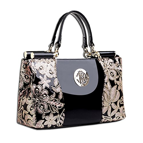 Patent Black Luxury black Kaxidy Lace Leather Handbag Leather Handbag Embroidery twdzBxqd