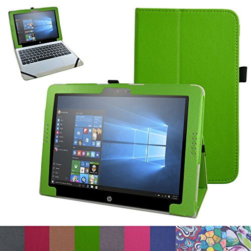 """HP Pavilion X2 12 Case,Mama Mouth PU Leather Folio 2-folding Stand Cover for 12"""" HP Pavilion x2 12 12-b020nr 12-b010nr Windows 10 Tablet 2016,Green -  Bigmouthstore, 6454704"""