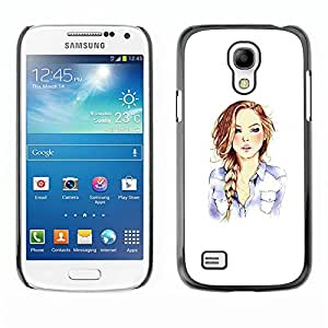 Caucho caso de Shell duro de la cubierta de accesorios de protección BY RAYDREAMMM - Samsung Galaxy S4 Mini i9190 MINI VERSION! - Girl Fashion Hair Minimalist White