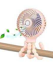 Mini Handheld Personal Portable Fan, Baby Stroller Fan, Car Seat Fan, Desk Fan, with Flexible Tripod Fix on Stroller Student Bed Bike Crib Car Rides, USB or Battery Powered (Pink)