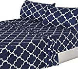 King Size Bed Set for Sale Utopia Bedding 4PC Bed Sheet Set 1 Flat Sheet, 1 Fitted Sheet, and 2 Pillow Cases (King, Navy)