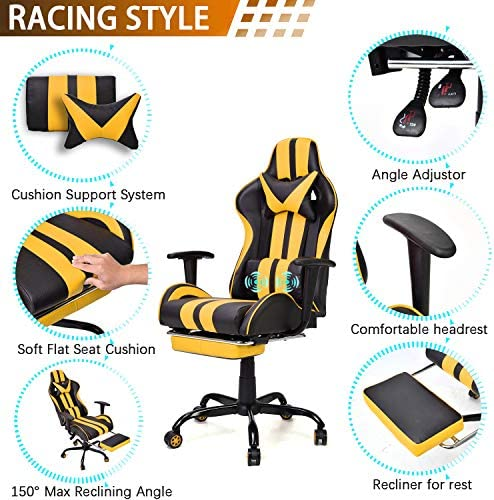 Video Gaming Chair,E-Sports Chair,Office Chair,PC Gaming Chair,Racing Style Massage Racing Chair with Height Adjustment, Lumbar Support,Headrest,Retractable Footrest(Racing Yellow) 51jUfQ wC6L