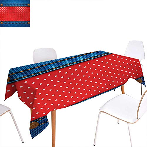 Warm Family Polka Dots Dinning Tabletop Decoration Jeans Pockets Frame Print with Little Polka Dots Traditional European Art Design Table Cover for Kitchen 54