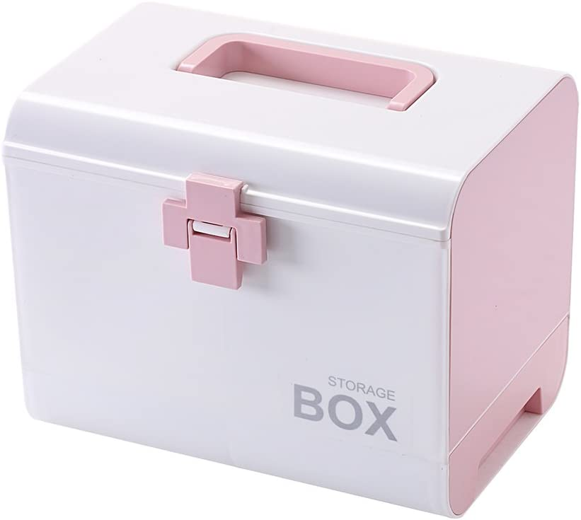 IMPR3·TREE Plastic Child Proof Security Storage Box Organizer Medicine Box Family Emergency Kit (Pink): Kitchen & Dining