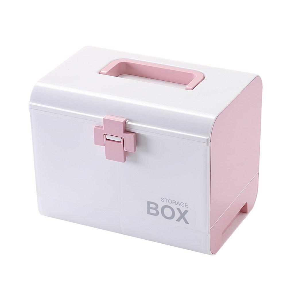 IMPR3 TREE Plastic Child Proof Security Storage Box Organizer Medicine Box Family Emergency Kit (Pink)