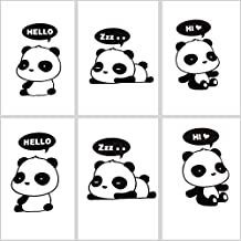 6 Pieces / Set Cute Black Panda Switch Wall Decorating Sticker (panda one)