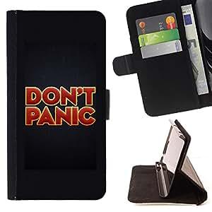 BullDog Case - FOR/HTC One M9 / - / don't panic red gold red text poster /- Monedero de cuero de la PU Llevar cubierta de la caja con el ID Credit Card Slots Flip funda de cuer