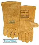 (12 PAIRS) Weldas COMFOflex Air Cushioned - Split Leather Premium Welding Gloves - Cotton/Foam Lined - 14 inches - Size L