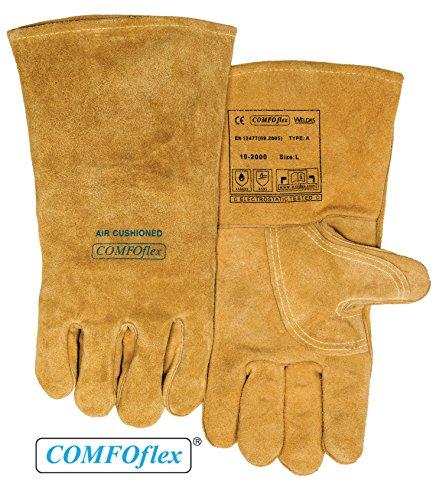 (Weldas COMFOflex Air Cushioned - Split Leather Premium Welding Gloves - Cotton/Foam Lined - 14 inches - Size L)