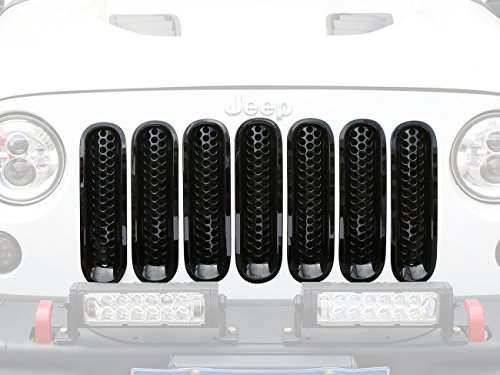 Hooke Road Gloss Black Clip-in Front Mesh Grille Insert for 2007-2015 Jeep Wrangler JK & Wrangler Unlimited (Pack of 7)