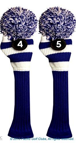 リーチ形敷居Majek # 4 & 5ハイブリッドコンボパックRescueユーティリティブルー&ホワイトゴルフヘッドカバーニットポンポン付きレトロクラシックヴィンテージヘッドカバー