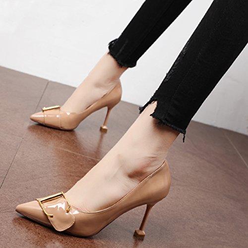 Xue Qiqi Pumps Stilvolle Orange Lackiert Leder Minimalistischen Spitze Schuhe Minimalistischen Leder Schnalle Fein mit High Heels 96f1f1