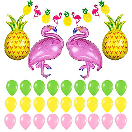 32 PCS Hawaii Luau Party Decoration, Flamingo and pineapple balloons Banner for Beach Party, Wedding, Summer Theme Birthday Decoration]()