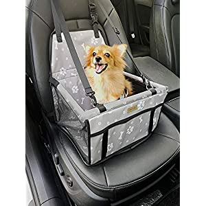 FANCYDELI Puppy Car Seat Upgrade Deluxe Portable Pet Dog Booster Car Seat Waterproof with Clip-On Safety Leash and Double-Side Mat,Perfect for Small Pets Grey up to 15 lbs 60