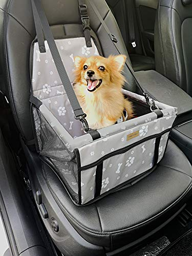FANCYDELI Puppy Car Seat Upgrade Deluxe Portable Pet Dog Booster Car Seat Waterproof with Clip-On Safety Leash and Double-Side Mat,Perfect for Small Pets Grey up to 15 lbs