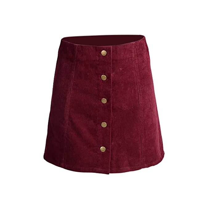 1960s Style Skirts Fedi Apparel Womens Retro Corduroy High Waist A Line Button Slim Mini Skirt $12.99 AT vintagedancer.com