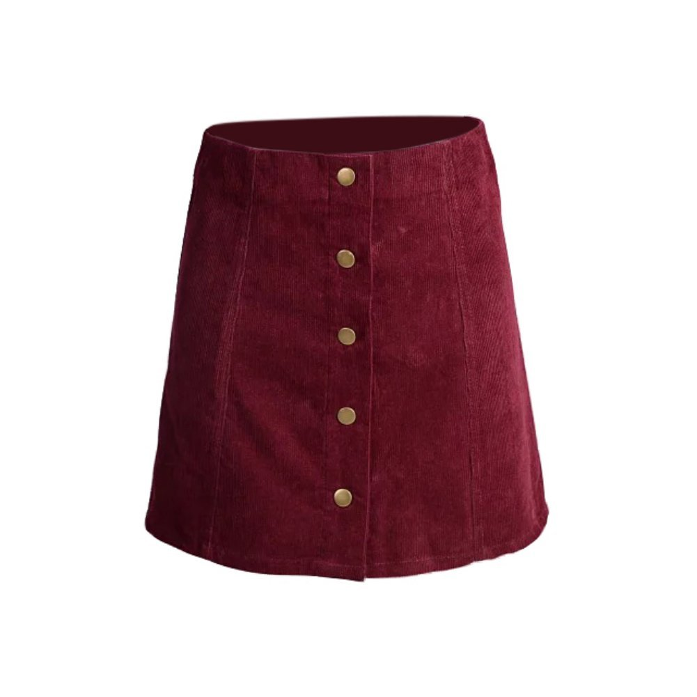 EFINNY Women Casual Retro A-Line Corduroy Mini Skirt Button Front Vintage Skirt