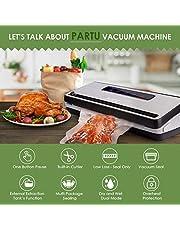 PARTU Macchina Sottovuoto Alimenti Professionale, Automatica Compatta Risparmiatori Di Cibo con Sigillatore sottovuoto con taglierina incorporata, per alimenti freschi sia secchi che umidi