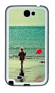 Beach Girl TPU Silicone Case Cover for Samsung Galaxy Note 2 / Note II / N7100 - White